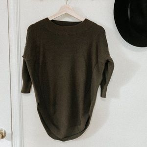 Express olive green knit sweater XS poncho fit